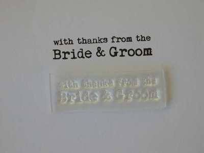 With thanks from the Bride and Groom, typewriter stamp