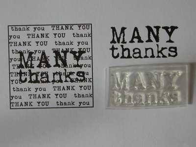 Many Thanks stamp, 2-line typewriter font
