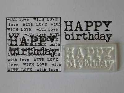 Happy Birthday stamp, 2-line typewriter font