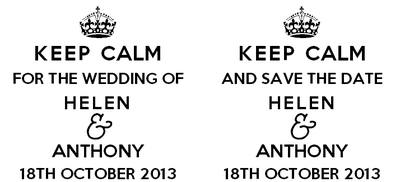 Keep Calm Save the Date personalised stamp