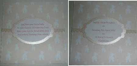 christening card inserts