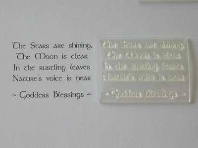 Pagan verse stamp, Goddess Blessings
