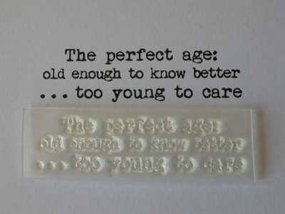 The Perfect Age, typewriter font stamp
