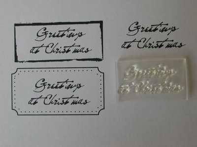 Greetings at Christmas, old handwriting font stamp