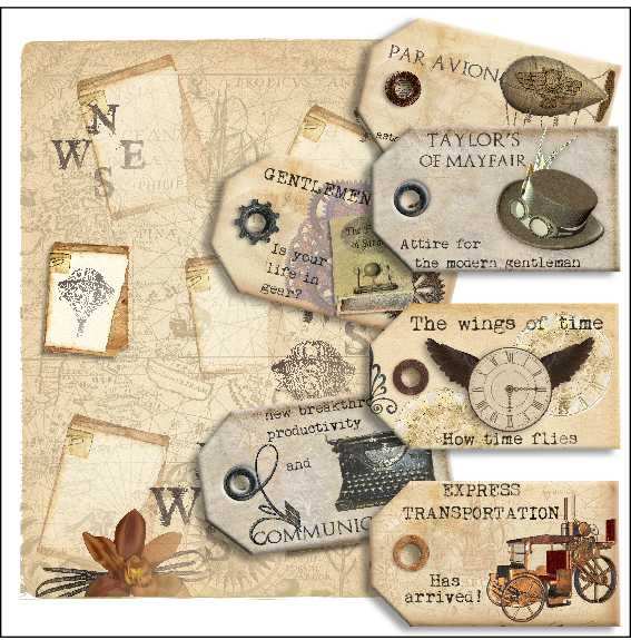 steampunk tag kit