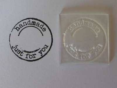 Handmade just for you, grunge circle stamp