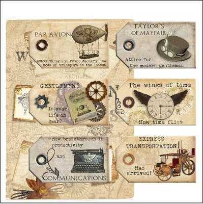 Steampunk tags & paper digi kit