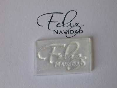 Spanish Merry Christmas script stamp