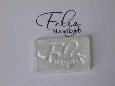 Spanish Merry Christmas script stamp