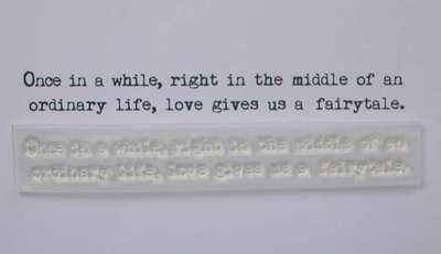 Love gives us a fairytale, typewriter 2 line verse