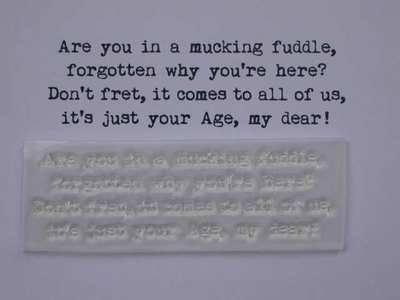 Mucking Fuddle, typewriter birthday verse stamp