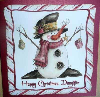 Daughter Christmas card with snowman