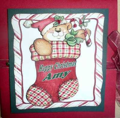 Christmas Teddy voucher card, personalised