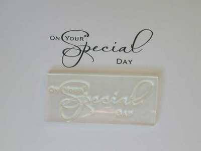 On your Special Day, script stamp