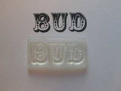 Bud stamp, Circus font