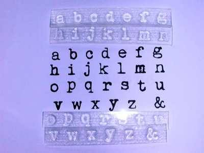 Alphabet stamps, lower case 1cm typewriter font