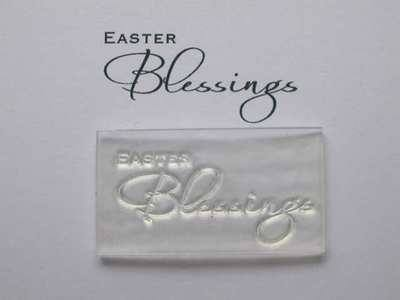 Easter Blessings script stamp 4cm