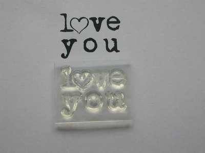 love you, typewriter stamp with heart