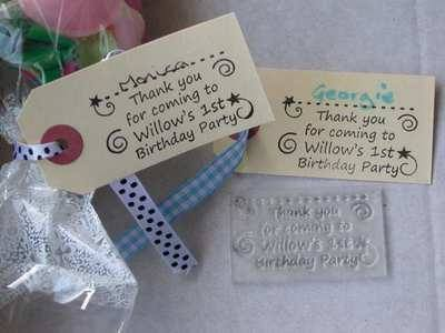 Personalised Party favour stamp for tags