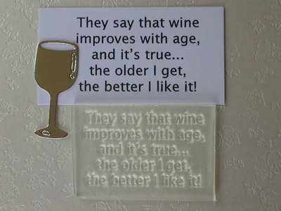 Wine improves with age, stamp