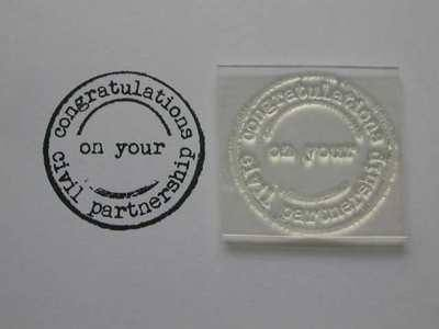 Congratulations Civil Partnership, grunge circle stamp