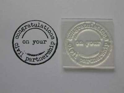 Congratulations Civil Partnership, grunge circle stamp