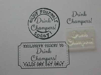 Drink Champers! little words stamp
