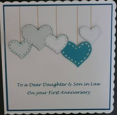 First Anniversary Card with hearts, teal