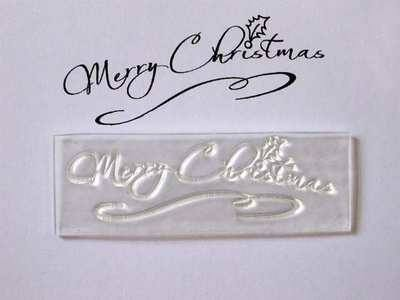 Merry Christmas script stamp with swirl