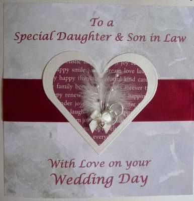 Wedding card for Daughter and Son in law with heart embellishment