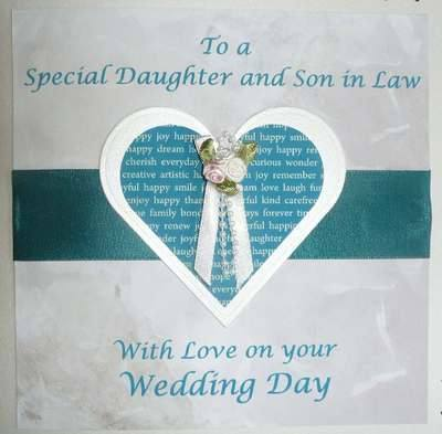 3rd Wedding Anniversary Gift Ideas For Son And Daughter In Law : Wedding card for Daughter and Son in law, teal