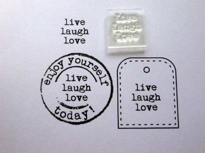live laugh love, little typewriter stamp