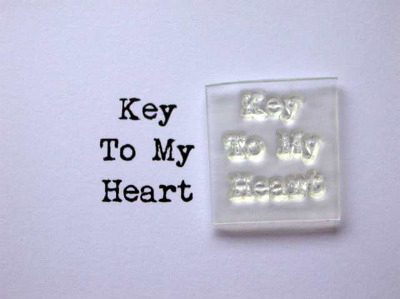 Key to my Heart, little typewriter stamp