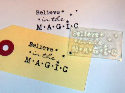 Believe in the Magic, typewriter stamp for Christmas