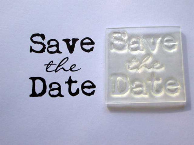 Save the Date, square typewriter stamp