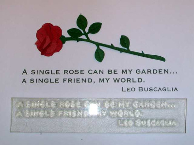 A single rose, quote stamp