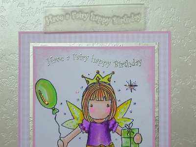 Have a Fairy happy Birthday, wavy text stamp