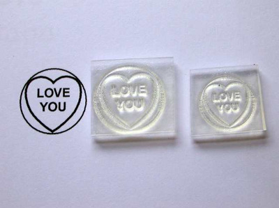 Love Heart stamp, Love You, 1.9cm or 1.5cm