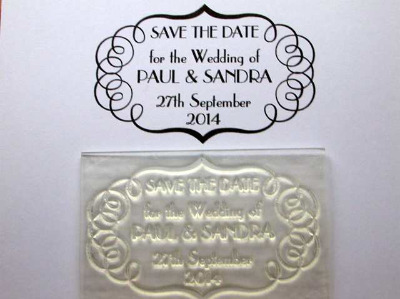 Save the Date, deco framed personalised stamp
