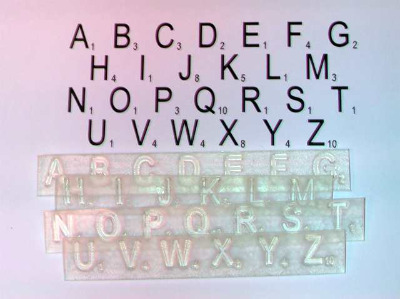 Scrabble Alphabet, 1cm clear stamps