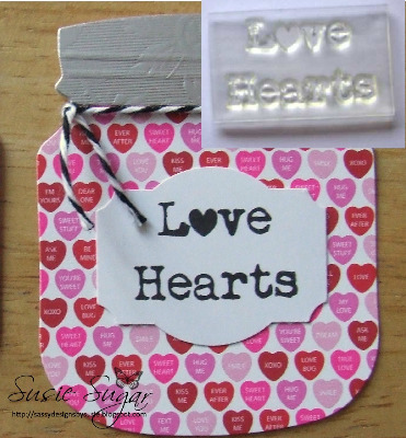 Love Hearts, typewriter stamp