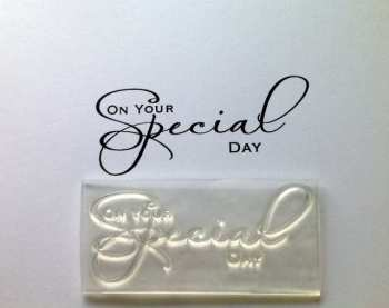 On your Special Day, script stamp 6.4cm