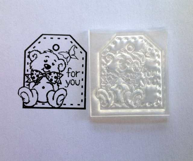 For You, tag stamp with bear and butterfly