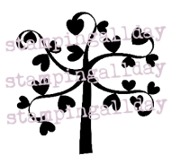 Heart Tree stamp 5cm