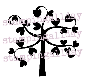 Heart Tree stamp 5cm