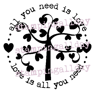 All you need is love, with heart tree 6.3cm circle stamp