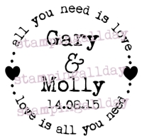 All you need is love, personalised 6.3cm circle stamp