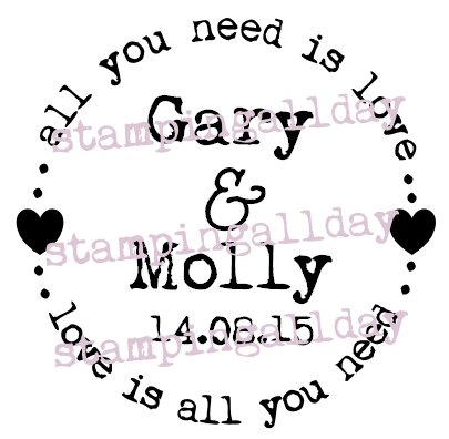 All you need is love, personalised circle stamp