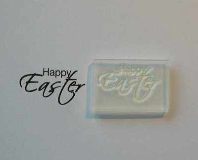 Happy Easter, small script stamp
