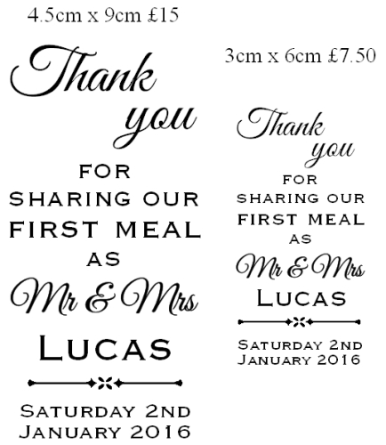 Sharing our first meal as Mr & Mrs, custom stamp